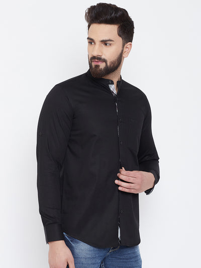 JUMP USA Men Black Solid Cotton Casual Shirts - JUMP USA
