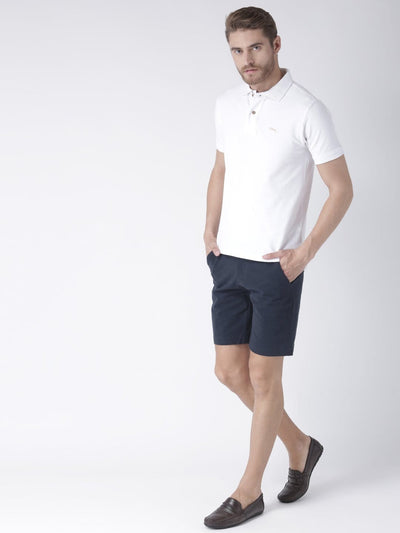 Casual Men Solid Slim Fit Navy Blue Chino Shorts - JUMP USA
