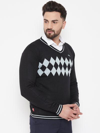 JUMP USA Men Black Self Design Sweater - JUMP USA