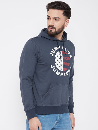JUMP USA Men Navy Blue Self Design Hooded Sweatshirt - JUMP USA