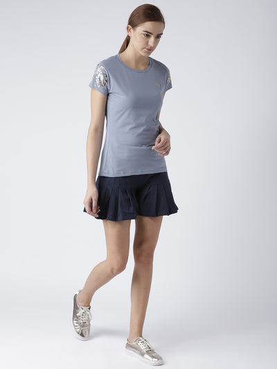 Women Blue Casual T-shirt - JUMP USA