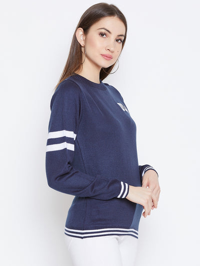 JUMP USA Women Navy Blue Solid Sweaters - JUMP USA