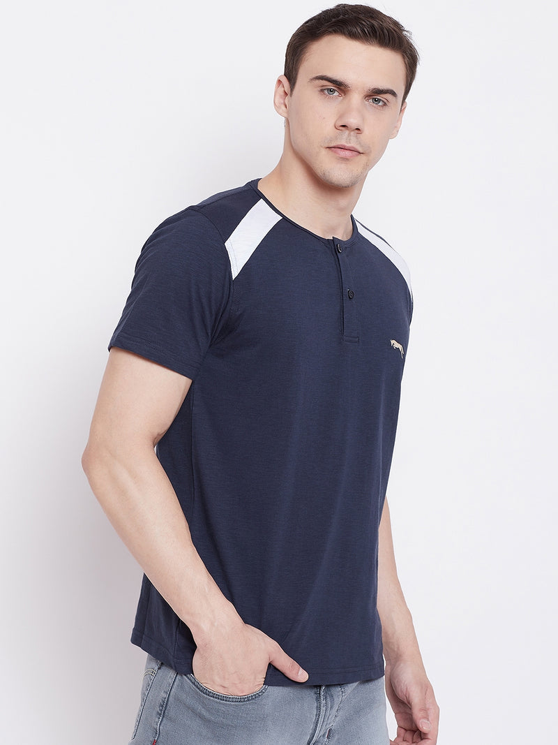 JUMP USA Men Navy Blue Solid Round Neck T-shirt