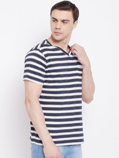 JUMP USA Men Navy Blue Striped V-neck Tshirt - JUMP USA