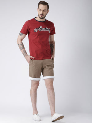 JUMP USA Men Brown Solid Chino Shorts - Jump USA