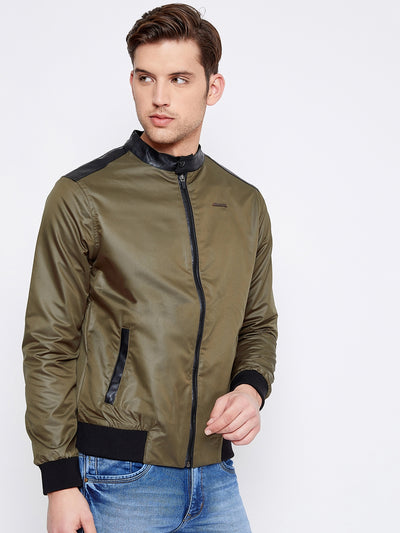 JUMP USA Men Olive Solid Casual Puffer Jacket - JUMP USA