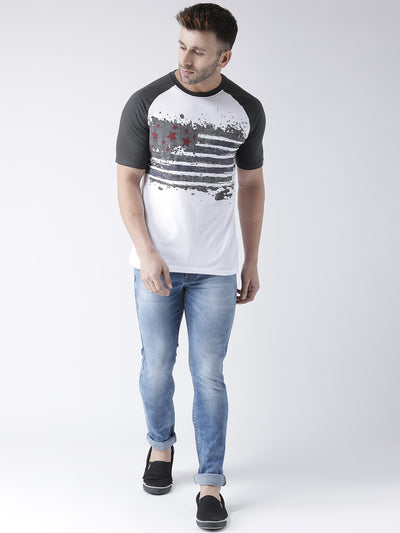 Men White and Charcoal Round Neck Tshirt - JUMP USA