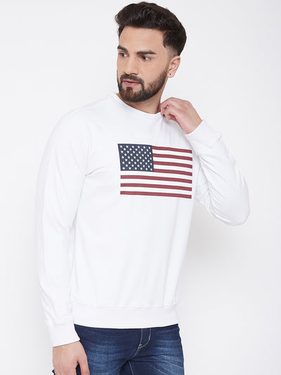 JUMP USA Men White Self Design Sweatshirt - JUMP USA