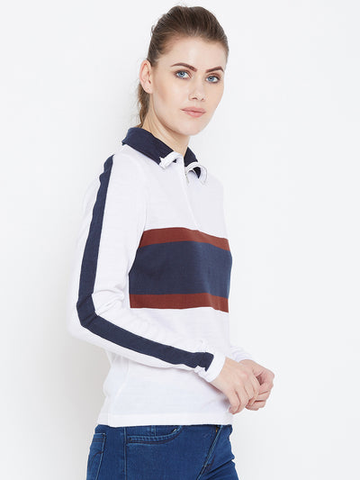 Womens Colourblock White/Ec Navy Sweaters - JUMP USA