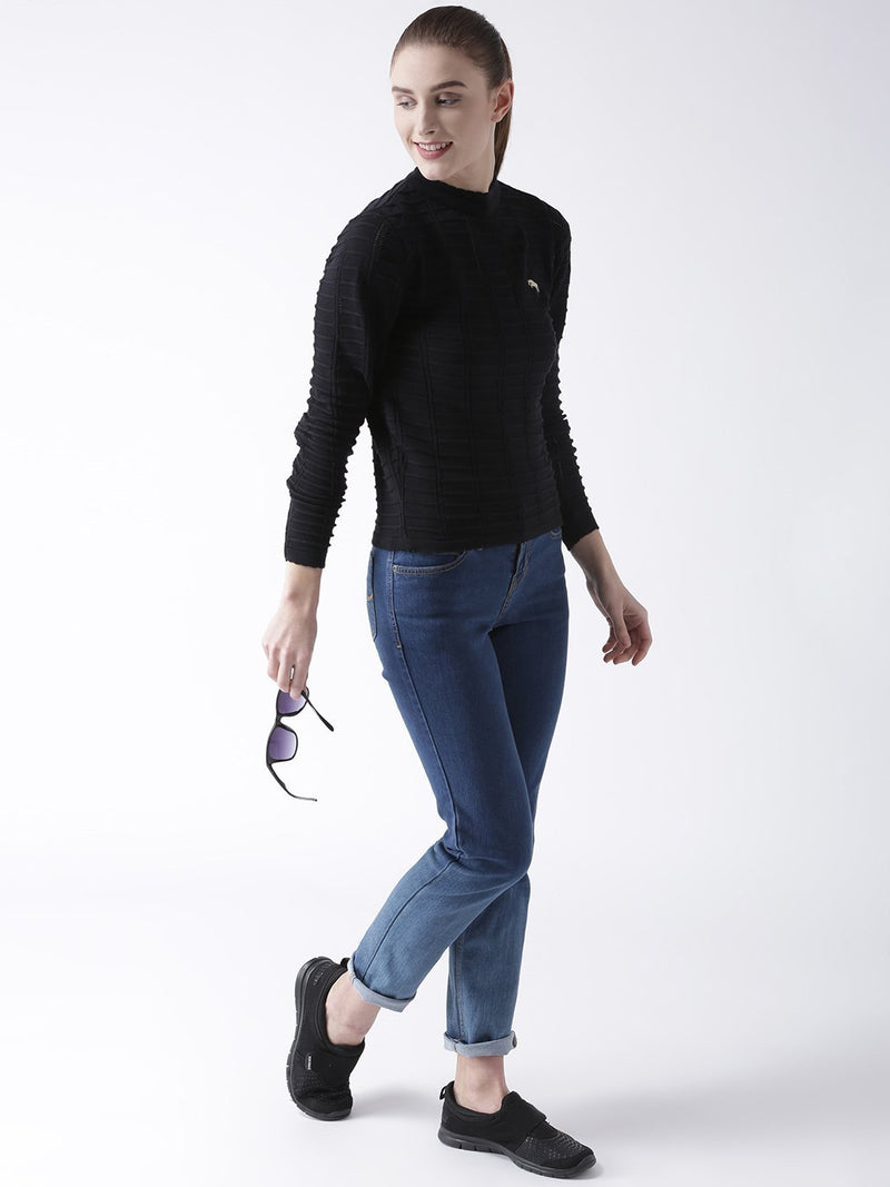 Women Cotton Casual Long Sleeve  Black Winter Sweaters - JUMP USA