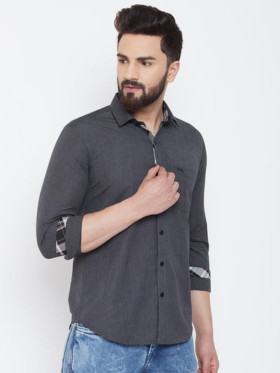 JUMP USA Men Charcoal Solid Cotton Casual Shirts - JUMP USA