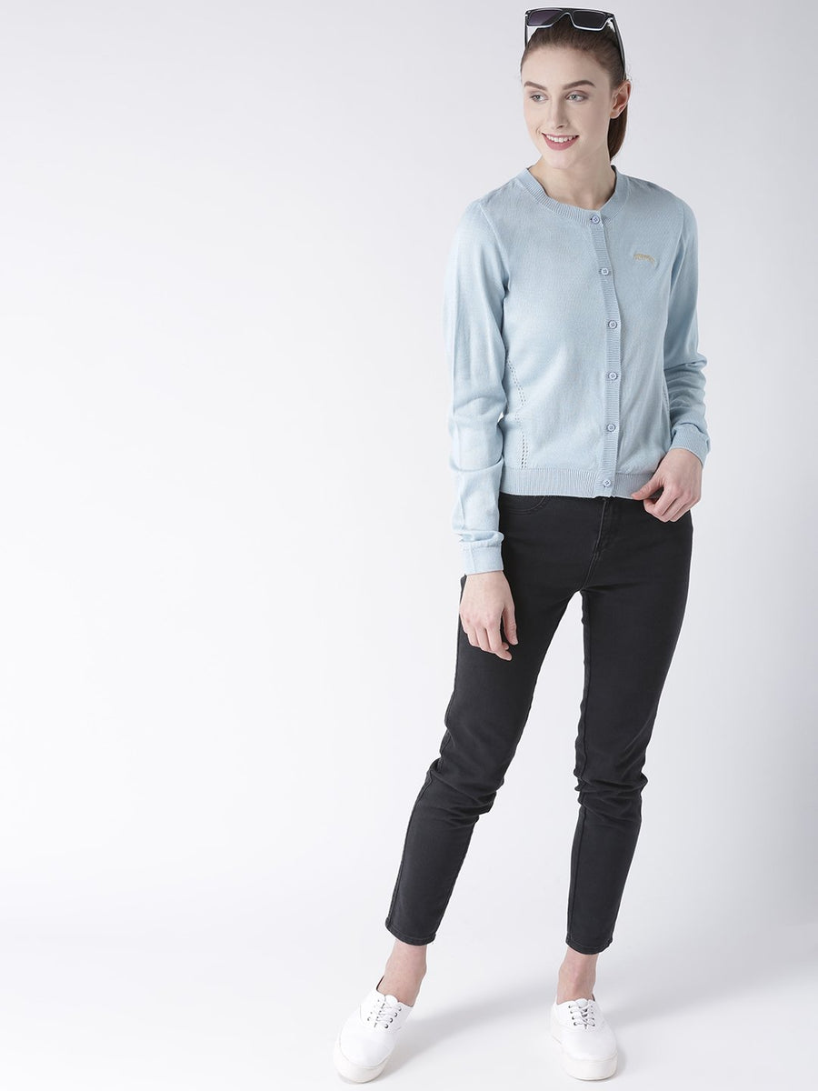 Women Cotton Casual Long Sleeve  Blue Winter Sweaters