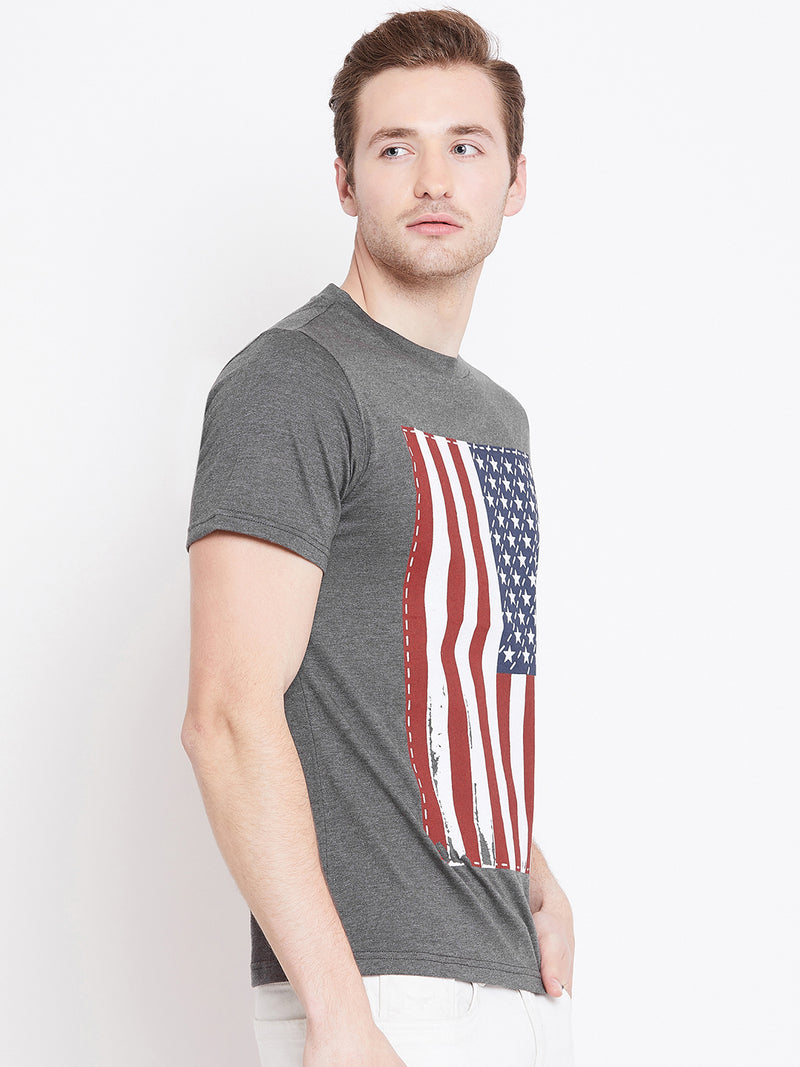 JUMP USA Men Grey Melange Printed Round Neck T-shirt