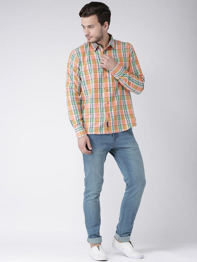 Men Casual Checked Orange Shirts - JUMP USA