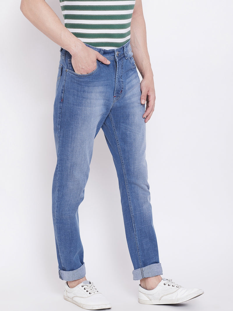 JUMP USA Men Blue Regular Fit Mid-Rise Clean Look Stretchable Jeans