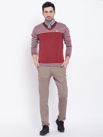 Men Casual Striped Red Sweaters - JUMP USA