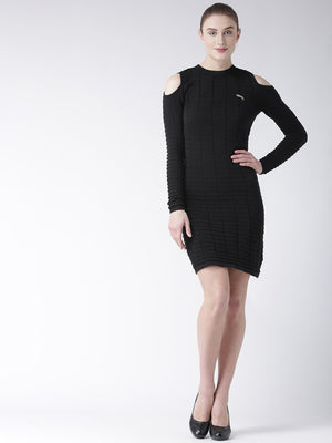 Women Cotton Casual Long Sleeve  Black dress - Jump USA