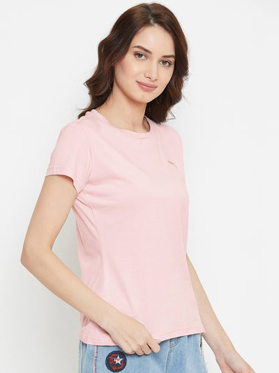 Women Pink Solid Casual Round Neck T-shirt - JUMP USA