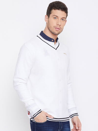 JUMP USA Men White Self Design Pullover - JUMP USA