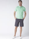 Men Green Solid Polo Collar T-Shirt - JUMP USA