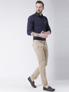 Men Beige Slim Fit Solid Chinos - JUMP USA