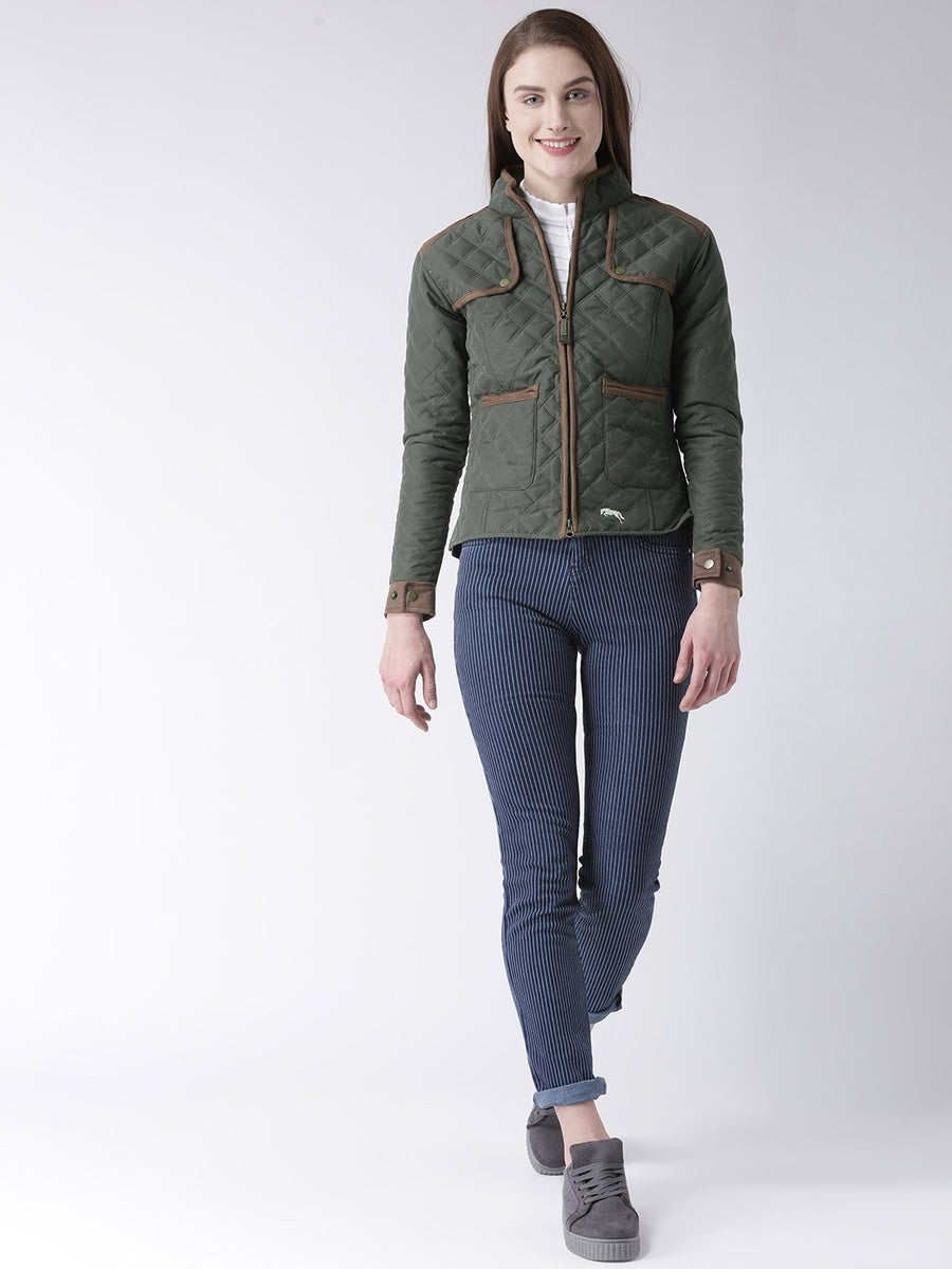 Women Polyster Casual Long Sleeve  Green Winter Jacket