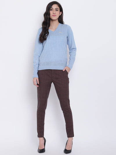 Women Coffee Brown Casual Trousers - JUMP USA