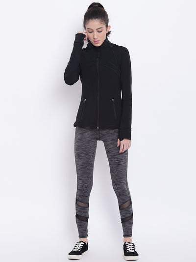 Women Black Sports Sporty Jacket - JUMP USA