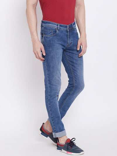 JUMP USA Men Blue Slim Fit Mid-Rise Clean Look Stretchable Jeans - JUMP USA