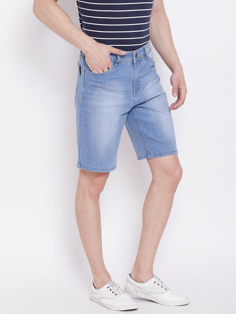 JUMP USA Men Blue Washed Solid Regular Fit Denim Shorts