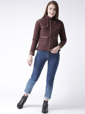 Women Polyster Casual Long Sleeve  Wine Winter Jacket - Jump USA