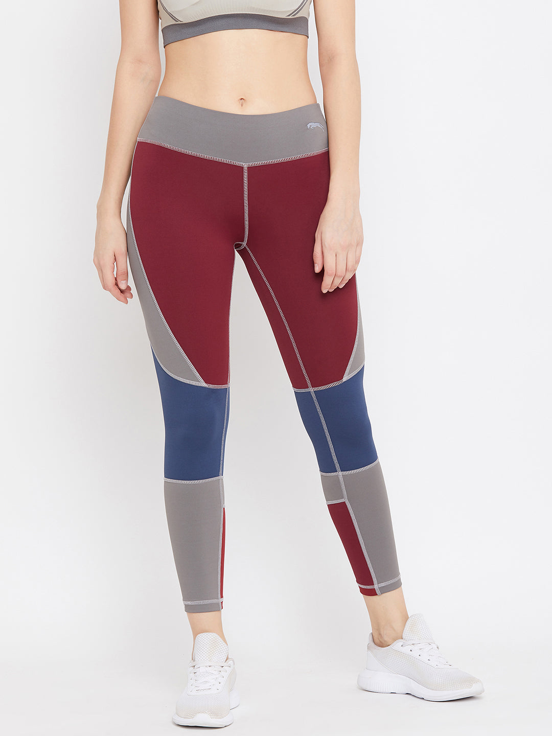 JUMP USA Women Maroon & Blue Colourblock Active Wear Tights