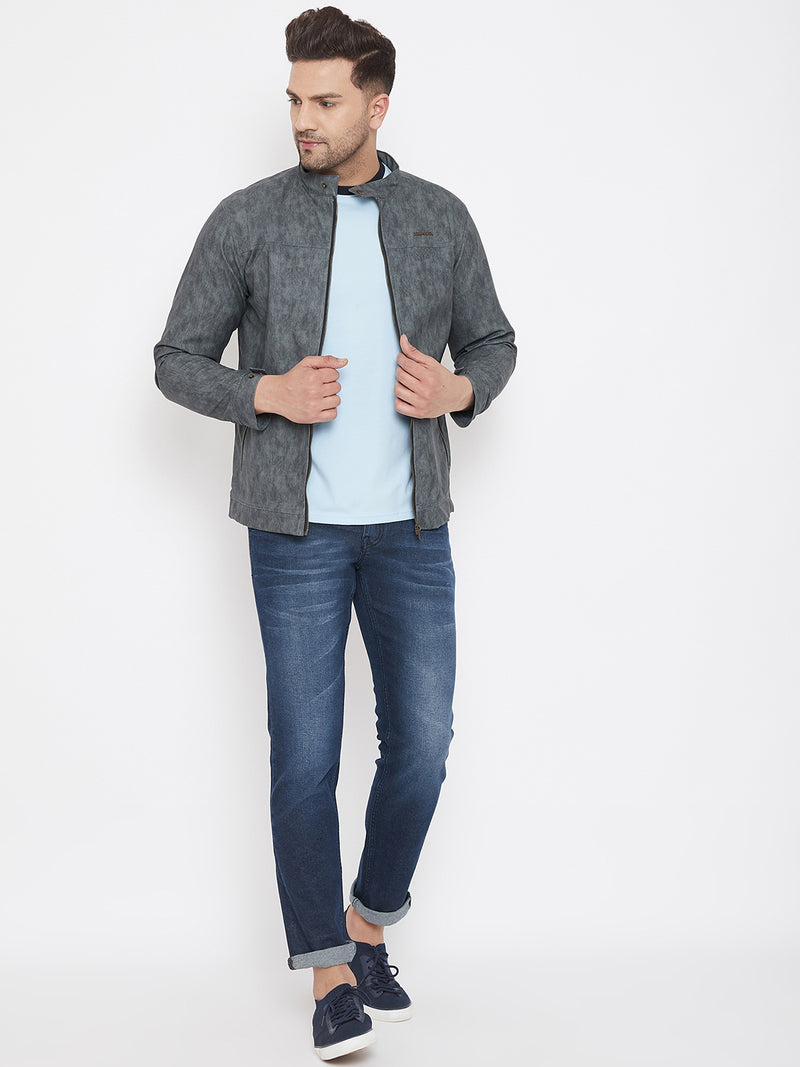 JUMP USA Men Grey Solid Leather Jacket