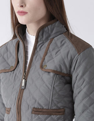 Women Polyster Casual Long Sleeve  Grey Winter Jacket - Jump USA