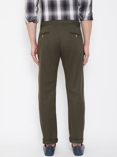JUMP USA Men Olive Casual Regular Fit Trousers - JUMP USA