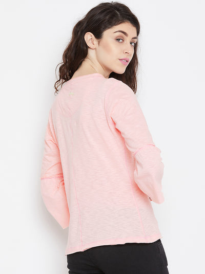 Women Pink Solid Casual Tops - JUMP USA