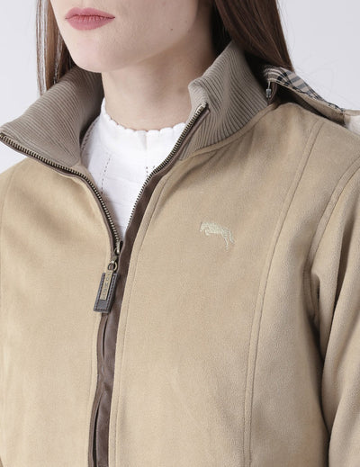 Women Polyster Casual Long Sleeve  Beige Winter Jacket - JUMP USA