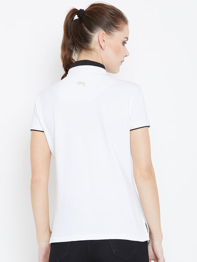 Women White Solid Casual Polo T-shirts - JUMP USA