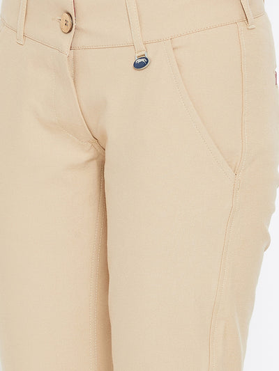 Women Beige Solid Skinny Fit Trousers - JUMP USA