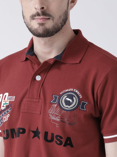 Men Red Solid Polo T-shirt - JUMP USA