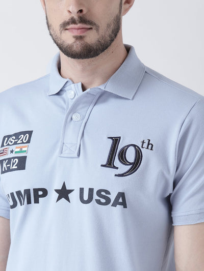 Men Blue Solid Polo T-shirt - JUMP USA