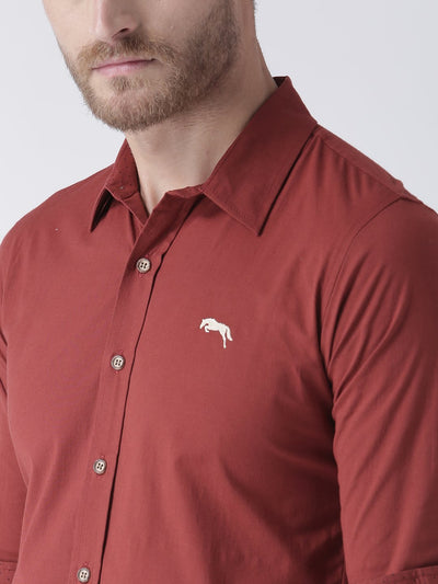 Men Red Slim Fit Solid Casual Shirt - JUMP USA