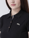 Women Black Solid Polo Neck T-shirt - JUMP USA