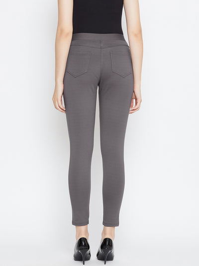 JUMP USA Women Grey Solid Casual Skinny fit Trousers - JUMP USA