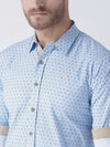 Men Blue Regular Fit Printed Casual Shirt - JUMP USA