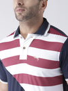 Men Navy Blue and White Polo Tshirt - JUMP USA