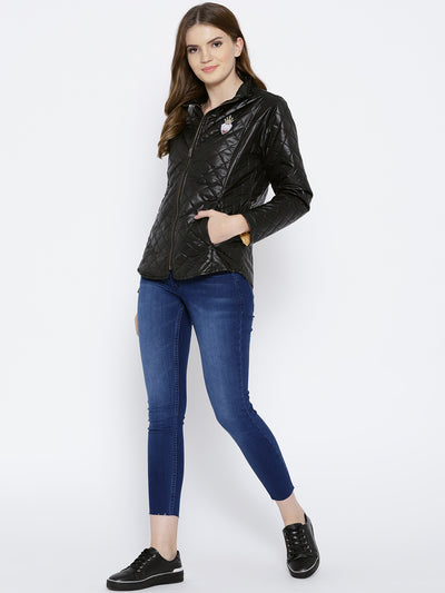 Women Black Quilted Jacket - JUMP USA