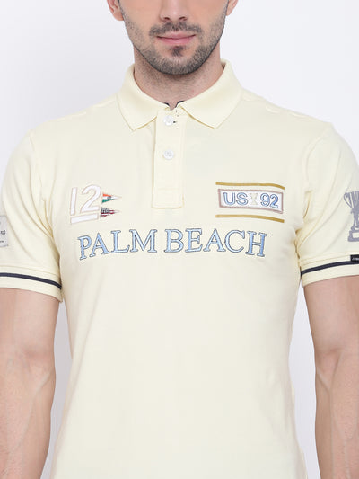 Men Casual Solid Yellow Polo Collar T-Shirt - JUMP USA