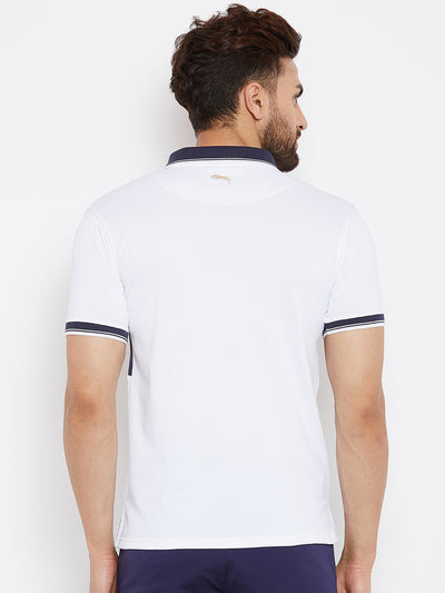 JUMP USA Men Solid White Polo T-shirts - JUMP USA
