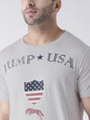 Men Casual Printed Grey T-shirt - JUMP USA